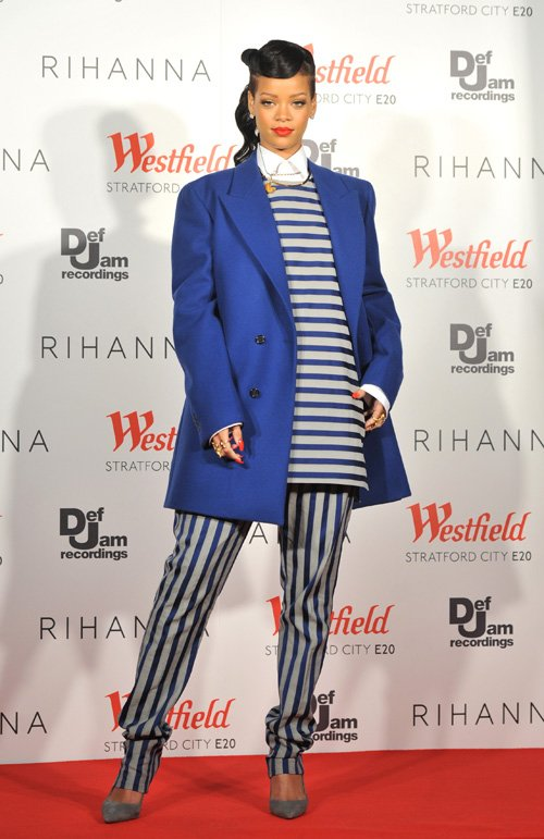0-Rihannas-Westfield-Christmas-Lights-Blue-and-Gray-Striped-Acne-Top-and-Pants-and-Blue-Raf-Simons-Coat