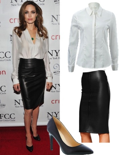 4dbbcf958e0 Angelina Jolie looks sensational in this leather skirt and crisp white  blouse combo. Both of these items can be worn back with so much and they ll  get you ...